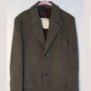 LONDON FOG Long 100% Wool Coat Overcoat Mens